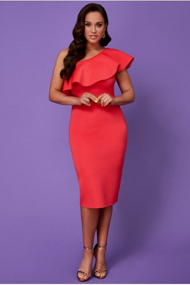 Vicky Pattison Hot Pink One Shoulder Frill Neck Dress