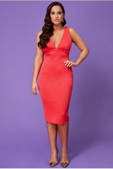 Vicky Pattison Hot Pink Back Strap Detailed Midi Dress