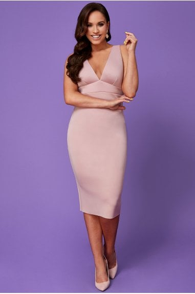 Vicky Pattison Nude Back Strap Detailed Midi Dress