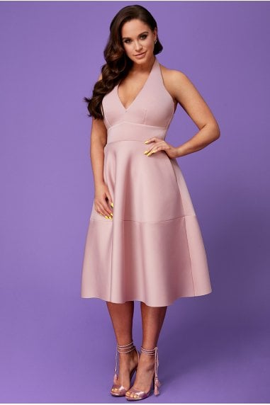 Vicky Pattison Nude Halter Neck A-Line Midi Dress