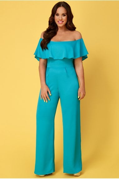 Vicky Pattison Turquoise Frilled Off the Shoulder Jumpsuit