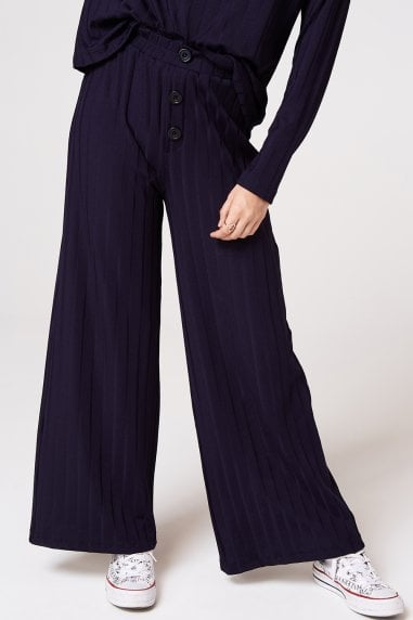 Nimble Navy Rib Button Trousers Co-ord
