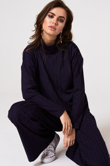 Nimble Navy Rib Button Jumper Co-ord