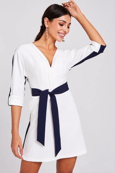 Warner Navy And White Colour-Block Shift Dress