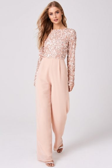 Luxury Elias Nude Hand-Embellished Sequin Jumpsuit