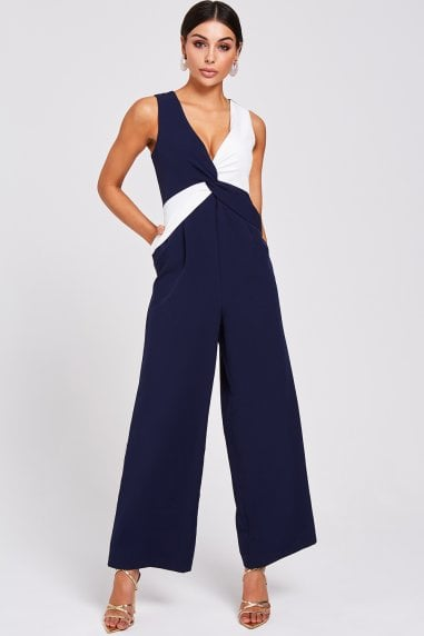 Fonda Navy And White Colour-Block Jumpsuit