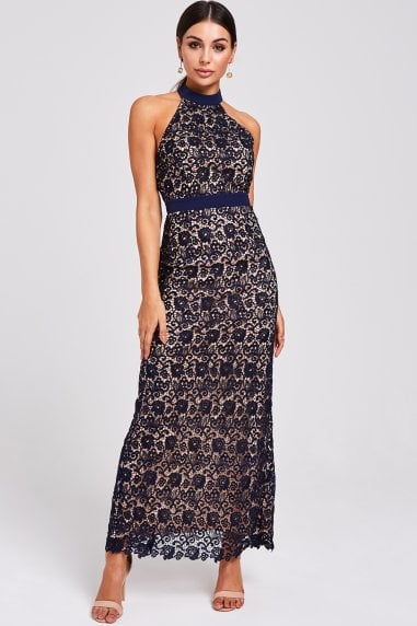 Salem Navy Lace Halter Maxi Dress