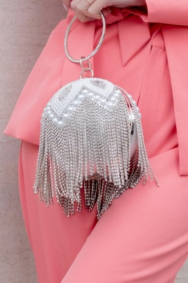Silver Diamanté and Pearl Fringe Sphere Clutch Bag