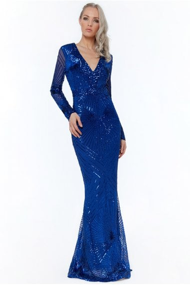 Royal Blue Starburst Effect Maxi Dress