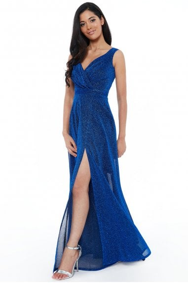 Royal Blue Crossover Glitter Maxi Dress
