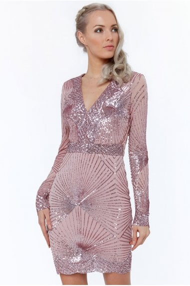 Blush Starburst Effect Mini Dress