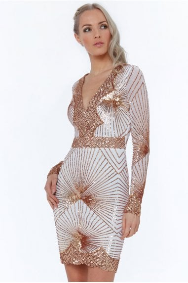 White Starburst Effect Mini Dress