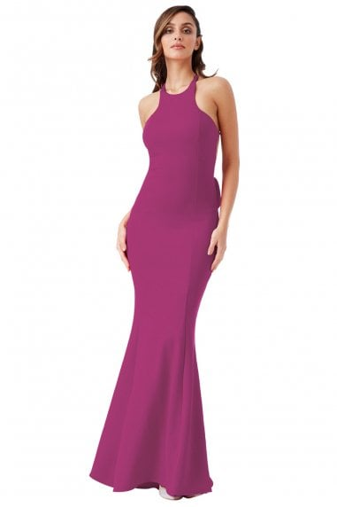 dfc977cf6f7 Magenta Open Back Bow Detail Maxi Dress