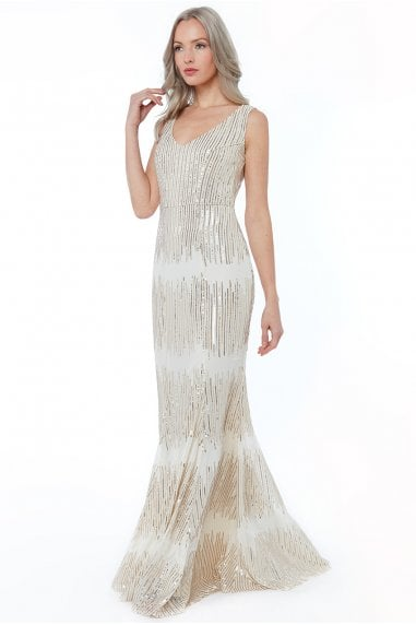 Champagne Sleeveless Sequin V Neck Maxi Dress