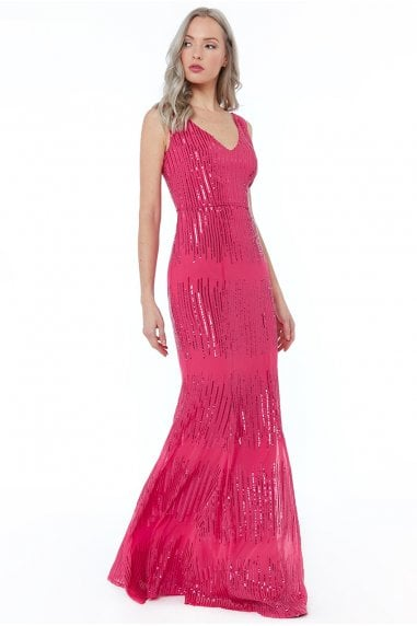 Cerise Sleeveless Sequin V Neck Maxi Dress