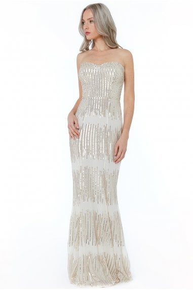 2e87a8b98c6 Champagne Sequin Bandeau Maxi Dress