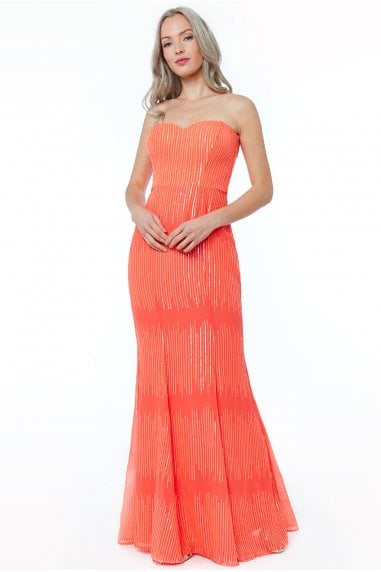56e8f4f0a9d Coral Sequin Bandeau Maxi Dress