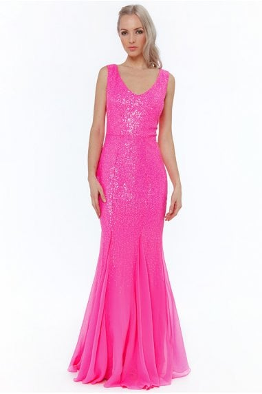 Cerise Sequin V-neck Maxi Dress
