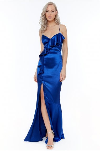 67f2b8d4297 Royal Blue Satin Ruffle Front Maxi Dress
