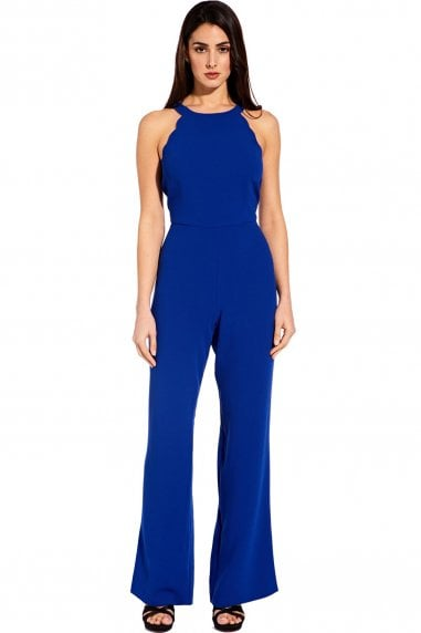 Egyptian Blue Scalloped Halter Jumpsuit