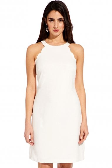Ivory Scalloped Halter A-Line Dress