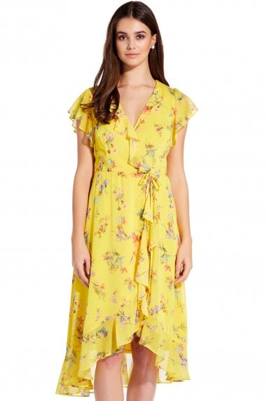51acf56236c Yellow Multi Sunny Corsage Midi Wrap Dress