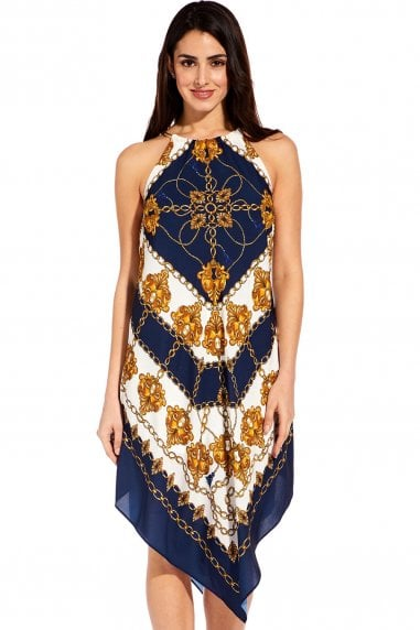 Navy & Ivory Multi Scarf Printed Halter Trapeze Dress