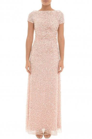 Blush Sequin Draped Maxi Dress
