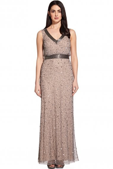 Mercury & Nude Long Beaded Dress