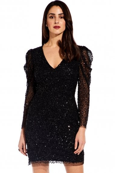 89227131990 Black Beaded Mini Dress