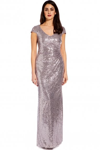 Lilac Grey Cap Sleeve Sequin Maxi Dress
