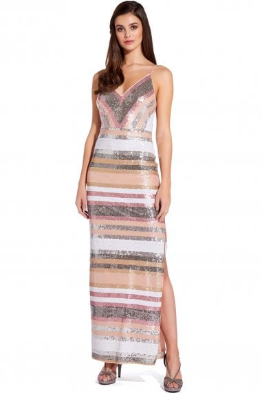Metallic Blush Spaghetti Strap Sequin Maxi Gown