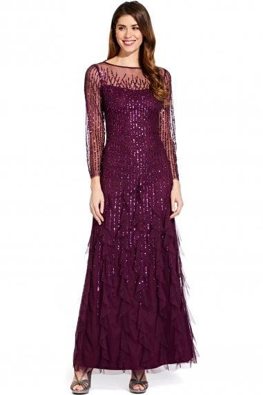 Cassis Beaded Maxi Dress