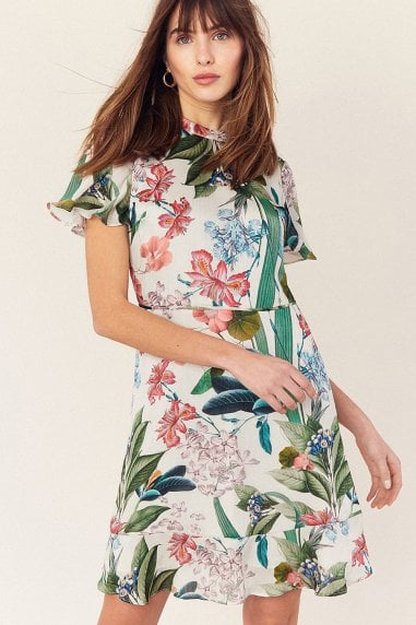 Hot Tropics Multi Natural High Neck Skater Dress