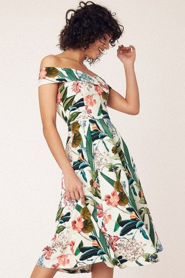 Hot Tropics Multi Natural Bardot Midi Dress