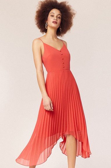 Coral Cami Button Pleated Midi Dress