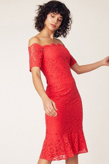 Coral Lace Bardot Midi Pencil Dress
