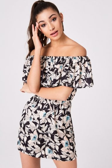 Axis Black Floral-Print Bardot Playsuit