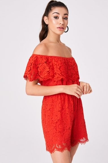 Sorrento Red Lace Bardot Playsuit