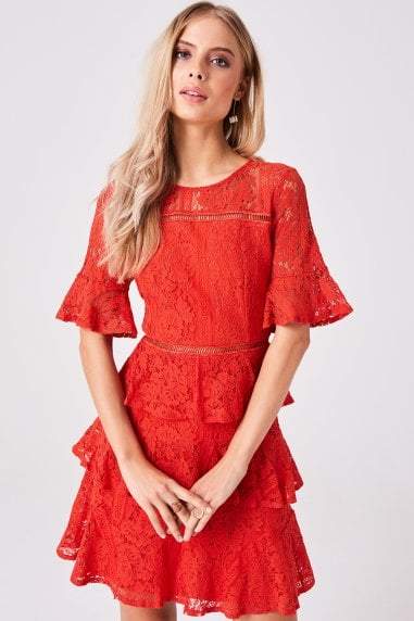 Bibi Red Tiered-Lace Shift Dress