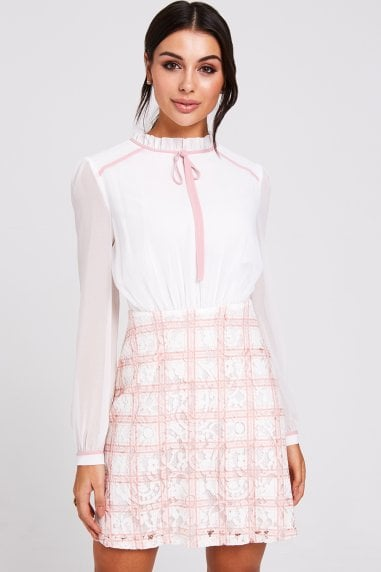 Rochelle Blush Lace Check Shift Dress