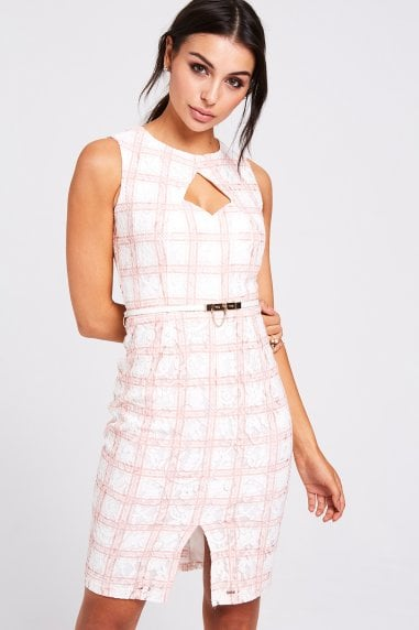 Vermont Blush Lace Check Pencil Dress