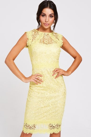 Denver Lemon Lace Midi Pencil Dress