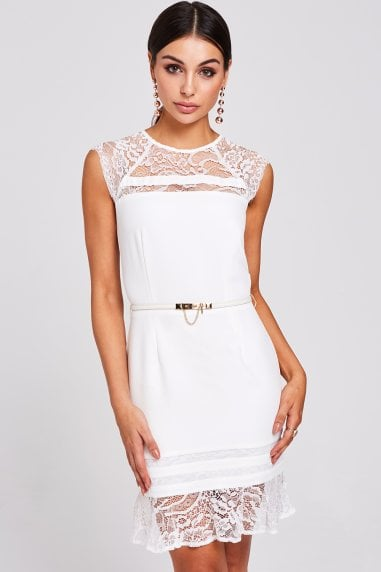 Derby White Lace Peplum Dress