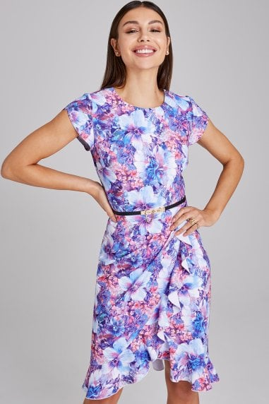 Newbury Floral-Print Belted Frill Dress