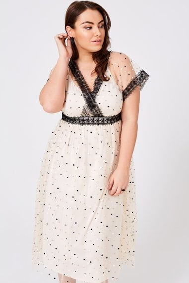 Eileen Buttercup Spot Mesh Midi Dress
