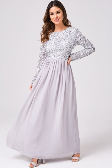 Luxury Briella Grey Hand-Embellished Pearl Maxi Dress