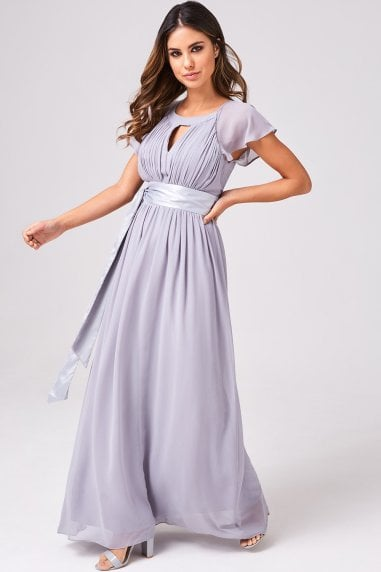 Rosa Grey Keyhole Maxi Dress