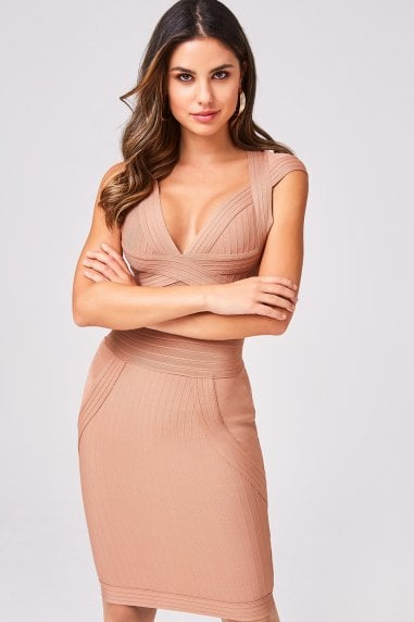 Gabriela Nude Bandage Bodycon Dress