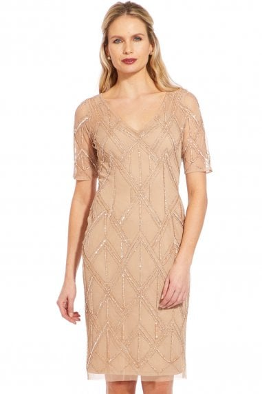 Champagne Beaded Sheath Dress